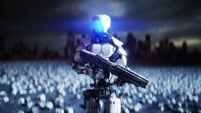 Militarny robot i czaszki ludzie Dramatycznego apocalypse super realistyczny pojęcie Wzrost maszyny ciemna przyszłość ilustracja wektor