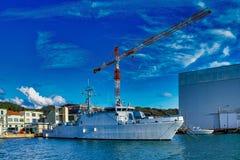 militarny statek w zatoce losu angeles spezia obrazy royalty free