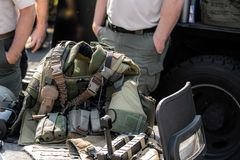 Militarny umundurowanie bojowe na pokazie fotografia royalty free