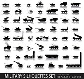 Military. Set. 56 high detailed silhouettes. Vector on separate layers Stock Photos