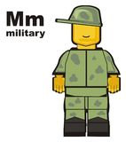 Military and abc. Toy of military stand with his name and letters m Stock Images