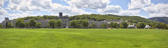 The Military Academy at West Point, New York. Parade grounds in front of main building. HQ panorama royalty free stock photo