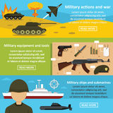 Military actions banner horizontal set, flat style Stock Photography