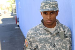 Military African American man with PTSD Stock Photos