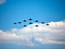 Military air show, May 9th Victory Parade, Moscow, Russia Stock Photography
