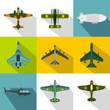 Military air transport icons set, flat style. Military air transport icons set. Flat illustration of 9 military air transport vector icons for web Royalty Free Stock Photography