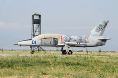 Military aircraft Aero L-39 Albatros at airport Royalty Free Stock Photo