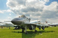 Military aircraft in the airfield Royalty Free Stock Image