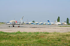 Military aircraft at the airfield in the Crimea Royalty Free Stock Photo