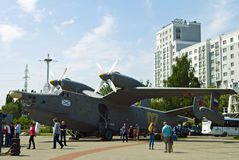Military aircraft-amphibian be-12 at the Museum of the world oce Royalty Free Stock Photo