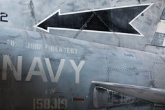 Military aircraft body - detail Stock Image