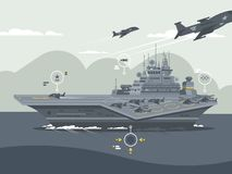 Military aircraft carrier. Huge warship with airplanes and helicopters. Vector illustration Royalty Free Stock Image