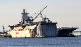 Military Aircraft Carrier under repair in Norfolk, Virginia Royalty Free Stock Photography