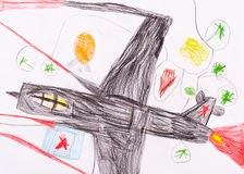Military aircraft. child's drawing on paper Stock Photo