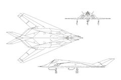 Military aircraft. Contour drawing of war plane. Top, side and front Stock Image