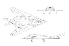 Military aircraft. Contour drawing of war plane. Top, side and front. Military aircraft. Contour drawing of war plane. Airplane views: top, side and front Stock Image