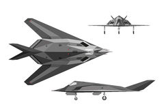 Military aircraft F-117. War plane in three views: side, top, fr Royalty Free Stock Photos