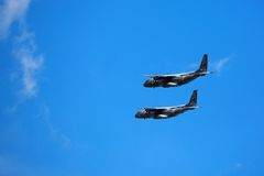 Military aircraft in flight Royalty Free Stock Images