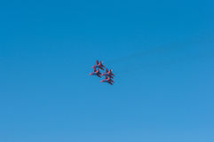 Military aircraft flying in a link. Airshow. Four military aircraft flying in a link Stock Photography