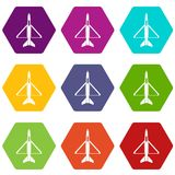 Military aircraft icon set color hexahedron. Military aircraft icon set many color hexahedron isolated on white vector illustration Royalty Free Stock Image