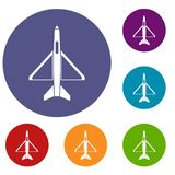 Military aircraft icons set. In flat circle reb, blue and green color for web Royalty Free Stock Photo