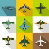 Military aircraft icons set, flat style. Military aircraft icons set. Flat illustration of 9 military aircraft vector icons for web Stock Image