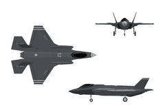 Military aircraft. Images of fighter jet. Three views airplane. Military aircraft. Images of fighter jet. Three views of airplane: top, side and front. Vector Royalty Free Stock Photo