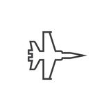 Military aircraft line icon, jet fighter outline  logo ill. Ustration, plane linear pictogram isolated on white Royalty Free Stock Image