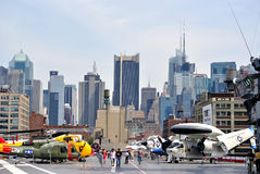 Military Aircraft with New York City Skyline Royalty Free Stock Image