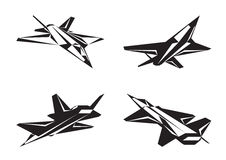 Military aircraft in perspective Royalty Free Stock Photo