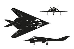 Military aircraft. Silhouette of war plane. Top, side and front. Military aircraft. Silhouette of war plane. Airplane views: top, side and front. Vector Royalty Free Stock Images