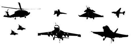Military Aircraft Silhouettes. Silhouettes of many different military aircraft and helicopters from mulitple countries Royalty Free Stock Photos