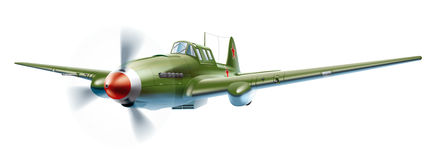Military aircraft. Soviet military aircraft since World War II. Detailed vector illustration for your projects royalty free illustration