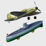 Military aircraft and submarine Stock Photos