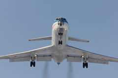 Military aircraft Tu-134 is landing. Rostov-on-Don, Russia, 7 February 2012 Royalty Free Stock Photography