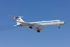 Military aircraft Tu-134 is landing. Rostov-on-Don, Russia, 7 February 2012 royalty free stock image