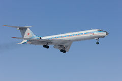 Military aircraft Tu-134 is landing. Rostov-on-Don, Russia, 7 February 2012 Stock Photos