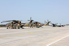 Military Aircrafts grounded preparing for mission. Royalty Free Stock Image