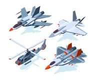 Military aircrafts isometric. 3D airplanes isolate on white. Aircraft and airplane, flight air plane, aviation transport vector illustration Stock Image