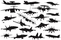 Military aircrafts set. Military aircraft silhouettes collection. Vector on separate layers Royalty Free Stock Photo