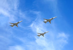 Military aircrafts TU-22M3. Supersonic bombers in flight Royalty Free Stock Photography