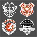 Military airforce patch set - armed forces badges and labels logo. Vector set Royalty Free Stock Images