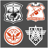 Military airforce patch set - armed forces badges and labels logo. Vector set Stock Image
