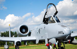 Military airplane A-10. RADOM, POLAND - AUGUST 31: A-10 fighter at International Air Demonstrations AIR SHOW 2009 August 31, 2009 in Radom, Poland Stock Photos