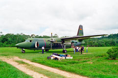 Military Airplane in Jungle, Bolivia Royalty Free Stock Image