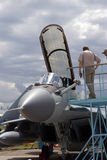 Military airplane at MAKS International Aerospace Salon MAKS-2017 royalty free stock photos