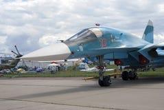 Military airplane at MAKS International Aerospace Salon MAKS-2017 Stock Photo