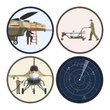 Military airplane. Repair and maintenance of war aircraft. Aerospace industry. Vector illustration Stock Photography