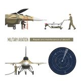 Military airplane. Repair and maintenance of war aircraft. Aerospace industry. Vector illustration Royalty Free Stock Photography