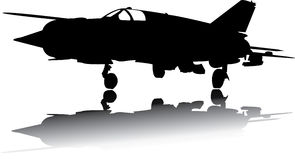 Military Airplane Vector. Illustrated black with shadow Stock Photography